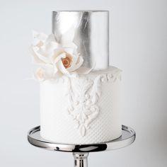 Silver metallic wedding cake by Cake Ink Metallic Cake, Metallic Wedding Cakes, Silver Cake, Floral Wedding Cakes, Wedding Cake Designs, Lace Wedding, Paper Cake, Cake Art, Gorgeous Cakes