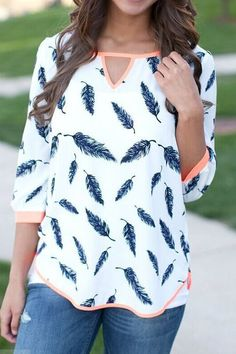 White Fashion 3/4 Length Sleeves Top