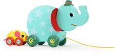 jouet musical à trainer l'éléphant et la souris-musical wood toy to hang