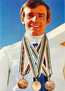 Jean-Claude Killy was a triple Olympic champion, winning the three alpine events at the 1968 Winter Olympics in Grenoble, France, Alpine Skiing, Snow Skiing, Olympic Medals, Olympic Games, Jean Claude Killy, Vive Le Sport, 9 Month Old Baby, Ski Racing, Ski Posters