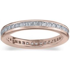 Amore 14k or 18k Rose Gold 1ct TDW Princess Eternity Diamond Wedding Band (G-H / SI1-SI2) (18K Rose Gold - 8), Women's