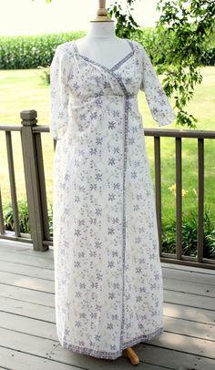 Regency Wrap Dress, Floral Indian Muslin, Authentic, 1812 Reenactment, Jane Austen