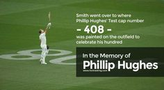 Steve Smith went over to where Phillip Hughes' Test cap number - 408 - was painted on the outfield to celebrate his hundred.