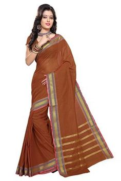 Scenic Brown Colored Border Worked Blended Cotton Saree Cotton Sarees on Shimply.com