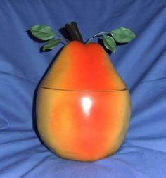 Fab Original Vintage 1960s / 1970s Retro / Kitsch Pear Ice Bucket & Tongs Set
