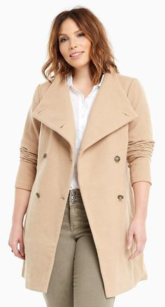 Plus Size Funnel Neck Coat