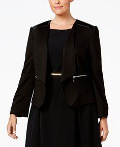 59.99$  Buy now - http://viahq.justgood.pw/vig/item.php?t=al1y4s43710 - Plus Size Faux-Leather-Trim Blazer 59.99$