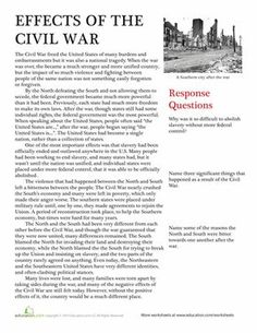 of the Civil War A nonfiction passage and some essay questions help students understand the effects of the Civil War in this American history worksheet. US history.Civil law Civil law may refer to: Teaching Us History, Teaching American History, American History Lessons, History Teachers, British History, European History, History Activities, Civil War Activities, History Education