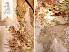 Cartoules Press: DIY Travel Pin Board -- great piece of interactive art. Think I'd hang own the dining room, too. Travel Map Pins, Travel Maps, Framed World Map, Invitation, Interactive Art, Up House, Travel Themes, Travel Destinations, Map Art