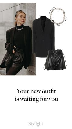 We just can't get enough of this look! Love! Steal her style on Stylight. Trendy Fashion, Girl Fashion, Outfit Look, Tailored Trousers, New Outfits, Her Style, Leather Skirt, Street Wear, Mini Skirts