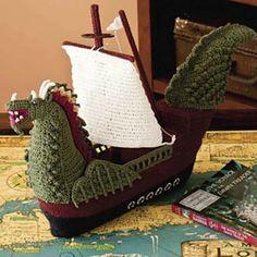 Wow, crochet viking ship