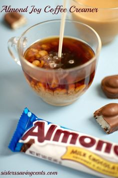 Almond Joy Coffee Creamer Candy-flavored coffee creamers are a delicious, special treat for the family to enjoy occasionally. This recipe combines the flavors of chocolate, coconut, and almond to m Homemade Coffee Creamer, Coffee Creamer Recipe, Almond Joy Creamer Recipe, Best Coffee Creamer, Marshmallow Creme, Nutella, French Vanilla Creamer, Menu, Apple Smoothies