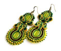 joy of spring   soutache earrings by KimimilaArt