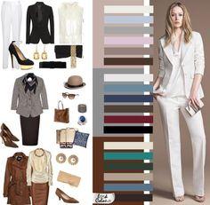 Цветовая гамма делового стиля не превышает 4 цветов. Наилучшими считается 2-3 цвета, а при 4-х – два из них должны быть близкими по тону. В основу делового стиля ложатся многофункциональные цвета: черный, темно-синий, белый, серый, бежевый. Затем сдержанные, мало эмоциональные, средние по теплоте оттенки: коричневые, бордовые, серо-синие, цвета морской волны, бутылочные, изумрудные, горчичные, песочные, темно-лиловые.