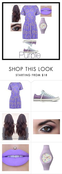 """Colour me... Purple"" by purpleflowerpens ❤ liked on Polyvore featuring Love Moschino, Converse and Ice-Watch"