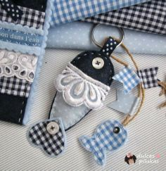 . Como pez en el agua./ DIY fish banners Sewing Art, Love Sewing, Sewing Crafts, Sewing Projects, Denim Crafts, Felt Crafts, Diy And Crafts, Arts And Crafts, Fabric Fish