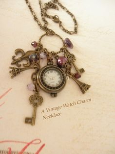 Antique Brass and Amethyst Watch Charm Necklace   jnldesigns - Jewelry on ArtFire