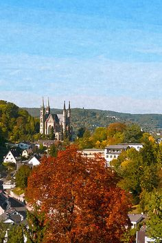 Remagen, Germany - In the distance the Apollinariskirche, a church on the site of a Roman temple on the Apollinarisberg, a hill above the town of Remagen.