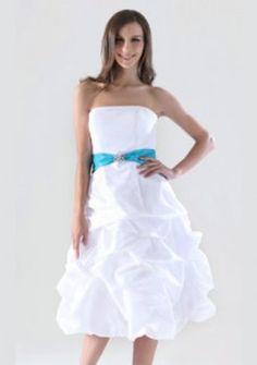A-ligne bretelles thé longueur taffetas de pick-up courtes des robes de bal