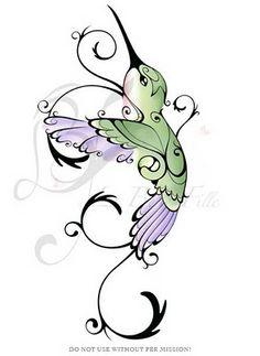 La Belle Fille Tattoos: Hummingbird. Art nouveau