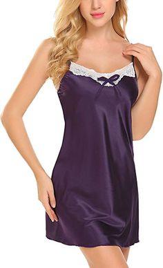 ADOME Women Lingerie Satin Nightgown Lace Chemise Spaghetti Strap Sleepwear e8f203dec