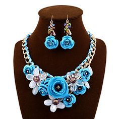BestmallFashion Elegant Charming Crystal Flower Statement chunky Collar Necklace necklace  earings Suit -- Want to know more, click on the image. Note:It is Affiliate Link to Amazon.