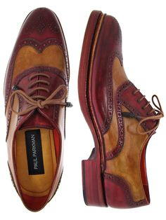 PAUL PARKMAN ® Men's Triple Leather Sole Wingtip Brogues Bordeaux Camel Hand-Painted