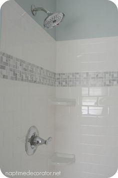 Subway Tile Shower With Accent Strip And Soap Niche