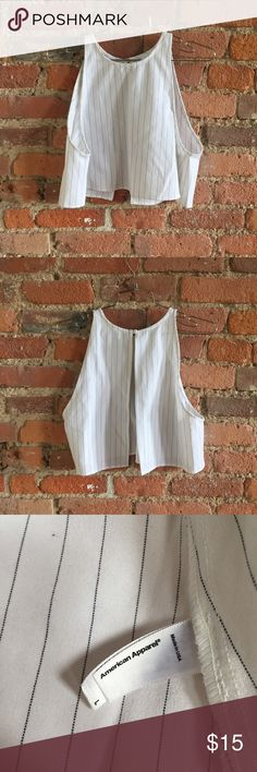 American Apparel Pinstripe Crop Top White and black pinstripe crop with open back. No flaws or wear. American Apparel Tops Crop Tops