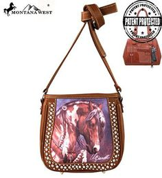 MW156G-8360 Montana West Horse Art Handbag-Laurie Prindle Collection-Brown - Handbags, Bling & More!