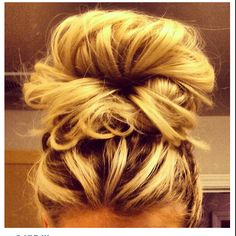 BUN!Try this. 2 elastics. 1 at the scalp - high pony second at the end of the hair. Join the ends into the center of the first and pin. // Another pinner says: do this all too often, get compliments all the time