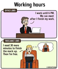 Office Jobs vs. Freelancing: 13 Illustrations Nailing The Differences!