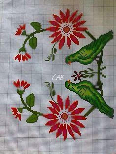 Cross Stitch Bird, Cross Stitch Borders, Cross Stitch Flowers, Cross Stitch Charts, Cross Stitch Embroidery, Embroidery Patterns, Cross Stitch Patterns, Afghan Patterns, Knitting Patterns