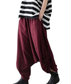 Abetteric Mens Oversized Harem Pants Capri Summer Linen Chinese Work Pant