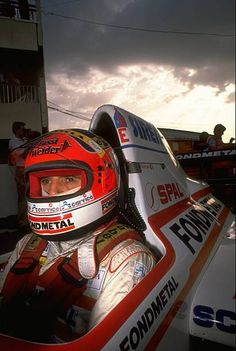 Portrait of Piercarlo Ghinzani of Italy in his Osella Cosworth before the French Grand Prix at the Paul Ricard circuit in Le Beausset France Ghinzani...