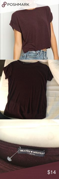 Brandy Melville Maroon Tee Super soft and cozy maroon tee from Brandy! Goes with anything and is in perfect condition. Fits a small/medium Brandy Melville Tops Tees - Short Sleeve