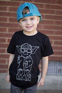 Modern, Hipster Kids. Boy Fashion. Star Wars shirts. Graphic Tees. Hand drawn Star Wars inspired Yoda Man t-shirt.
