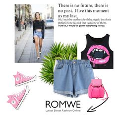 """Romwe"" by begajeta2309 ❤ liked on Polyvore featuring Converse and Rebecca Minkoff"