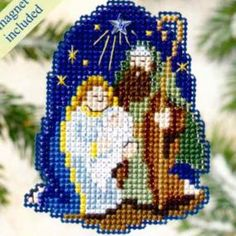 Nativity Bead Cross Stitch Ornament Kit Mill Hill -$4.99