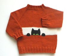 Black cat kids sweater Size 2T fox color baby pullower orange sweater MADE TO ORDER