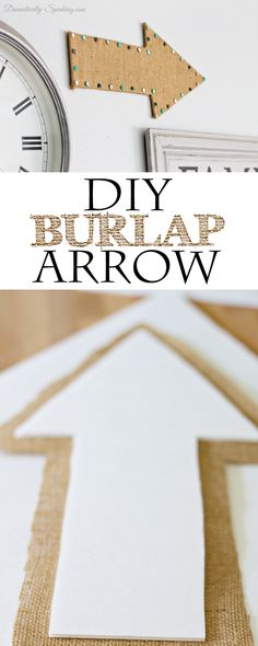 DIY Burlap Arrow a fun addition to a gallery wall... it's made with a foam board!