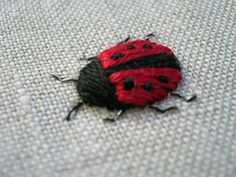 - (notitle) - Best Picture For applique sewing For Your Taste You are looking for som Flower Embroidery Designs, Simple Embroidery, Hand Embroidery Stitches, Crewel Embroidery, Embroidery Techniques, Embroidery Applique, Cross Stitch Embroidery, Creations, Ladybugs