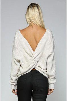 Round Neck V Back Sweater