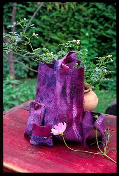 purple nuno felted set of bag and purses by Emese