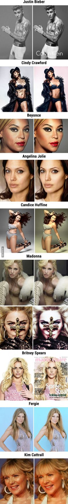 10 Celebrities Before And After Photoshop