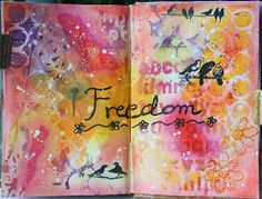 Freedom | Mixed media art journal spread