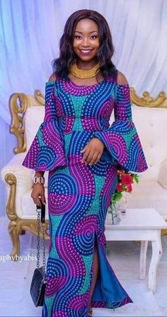 Purple and black fabric African Fashion Ankara, Latest African Fashion Dresses, African Print Fashion, Africa Fashion, African Attire, African Wear, African Women, African Dresses For Kids, African Print Dresses