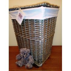 Natural Wicker / Willow Laundry Basket with Lining - £15.00