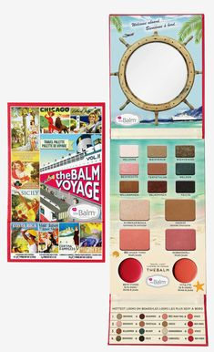 theBalm theBalm Voyage Palette Multi - It features nine exclusive triple-milled eyeshadows which can be used wet or dry, two blushes, a bronzer, a highlighter and two versatile lip-and-cheek creams stowed away in a sleek lower compartment. Beauty Box, Blush Beauty, Beauty Makeup, Beauty Stuff, Make Up Palette, Blushes, Bronzer, Travel Size Products, Eyeshadow Palette