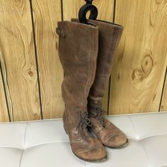 Leather boots SUPER SALE!! Comes to the knees made of leather. Lightly used no rips or stains Shoes Combat & Moto Boots